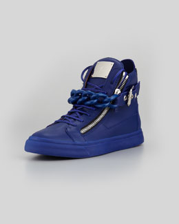 Giuseppe Zanotti Chain & Zipper Leather High-Top, Praga Bluette