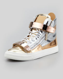 Giuseppe Zanotti Men's Metallic Colorblock High-Top Sneaker, Silver/Gold