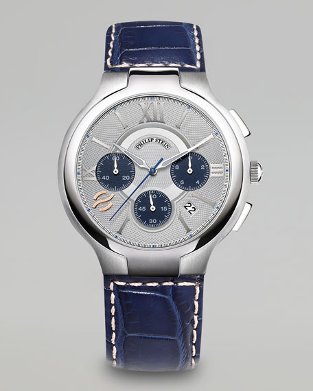 Men's Chronograph Watch With Crocodile Strap, Blue