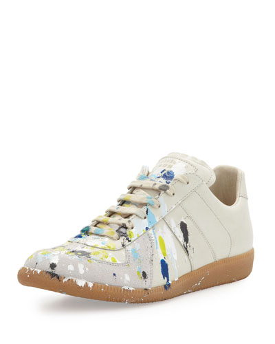 Maison Martin Margiela Splatter Low-Top Sneaker, Blue/Yellow