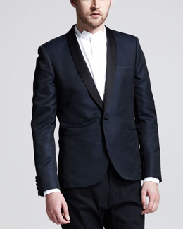 Saint Laurent Two-Tone Evening Jacket,  Blue/Black
