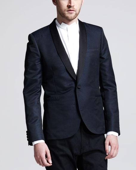Two-Tone Evening Jacket,  Blue/Black