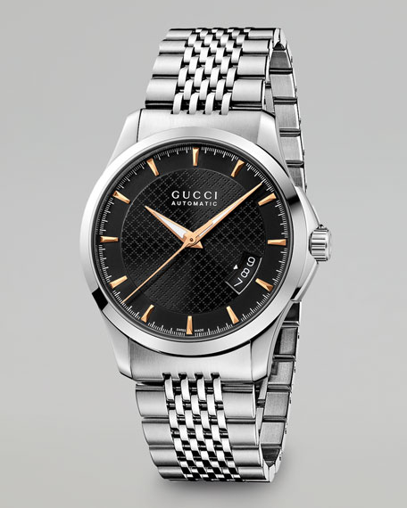 G Timeless Automatic Watch, Black/Steel