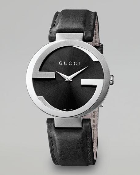 Interlocking-G XL Stainless Steel Watch, Black