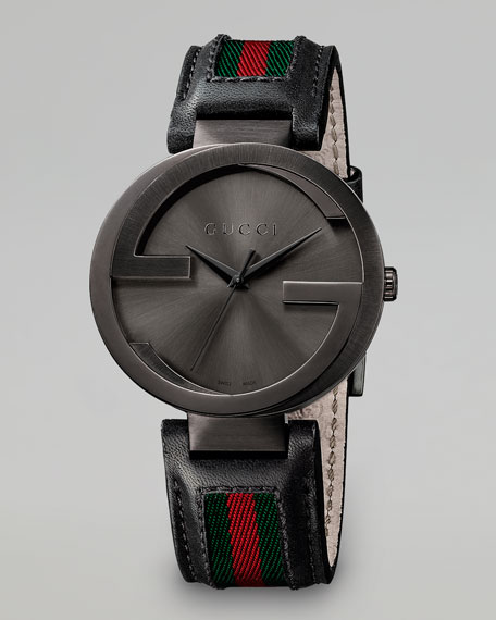 Interlocking G  PVD Watch, Black