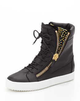 Giuseppe Zanotti Crystal-Zip High-Top Sneaker, Black