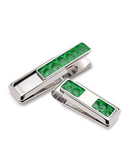 M Clip Monterey Monogrammed Alligator Money Clip, Green