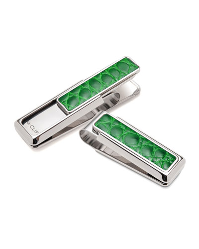 Monterey Alligator Money Clip, Green