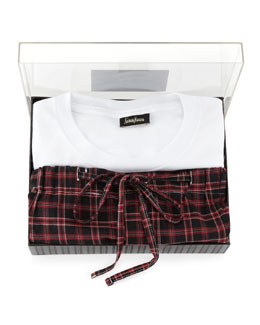 Neiman Marcus Tee/Pant Plaid PJ Set, Red