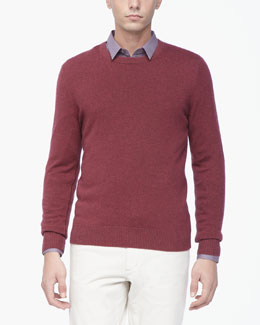 Theory Cashmere Crewneck Sweater, Red