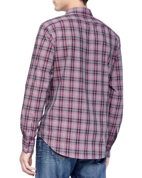 Woven Sport Shirt, Pink Check