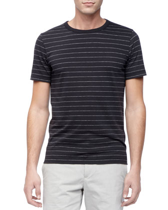 Striped Crewneck Tee, Black