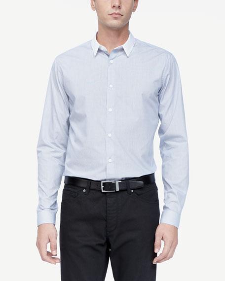 Colorblock-Collar Woven Shirt, Eclipse Stripe