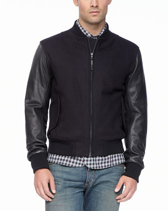 Leather-Sleeved Boston Bomber Jacket, Navy