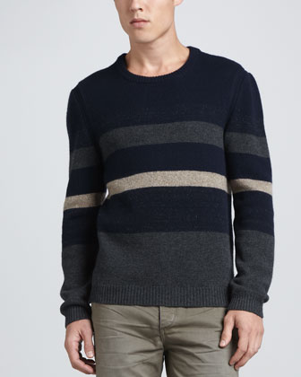 Teddy Block Stripe Crewneck Sweater, Navy
