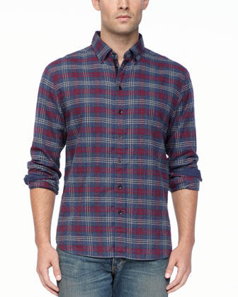 Oxford Button-Down Shirt, Port Plaid