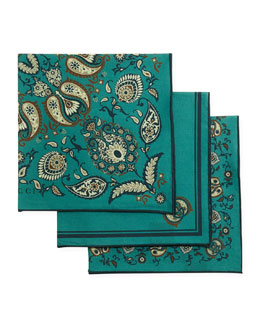 GUCCI Set of 3 Paisley Pocket Squares, Green