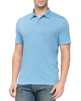 John Varvatos Star USA Pickstitched Slub Polo, Blue