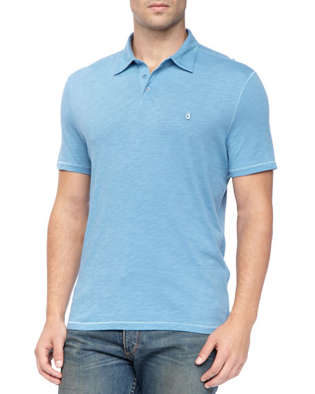 Pickstitched Slub Polo, Blue