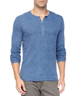 John Varvatos Star USA Long-Sleeve Burnout Waffle Henley, Blue