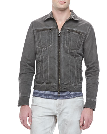 Denim Zip-Trim Jacket, Dark Olive