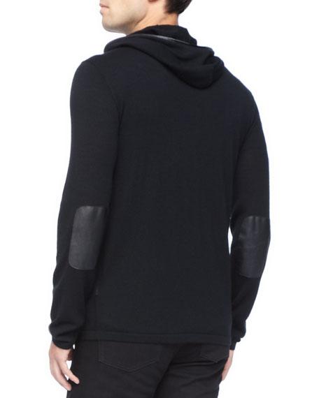 Leather-Trim Zip Hoodie, Black