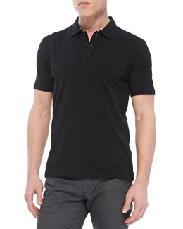 Versace Collection Cotton-Jersey Polo, Black
