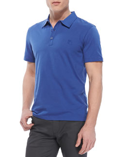 Versace Collection Cotton-Jersey Polo, Blue