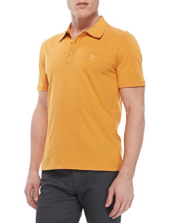 Versace Collection Cotton-Jersey Polo, Orange