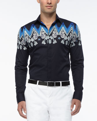 Woven Baroque-Detail Sport Shirt, Navy