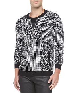 Versace Collection Geometric Patch Jacket, Black/White