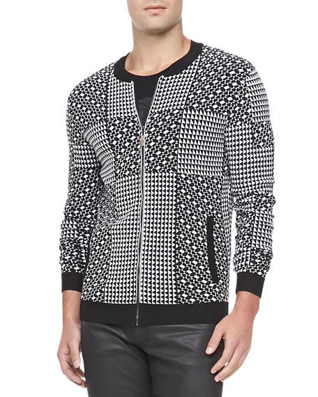 Geometric Patch Jacket, Black/White