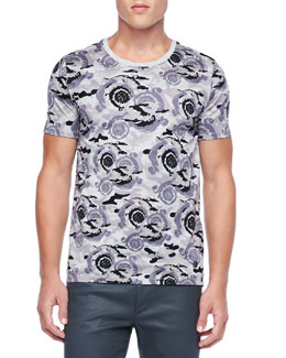 Versace Collection Camo-Print Tee, Gray/Lavender
