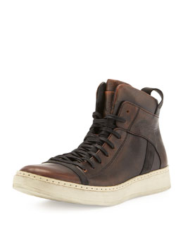 John Varvatos Burnished Leather High-Top, Brown