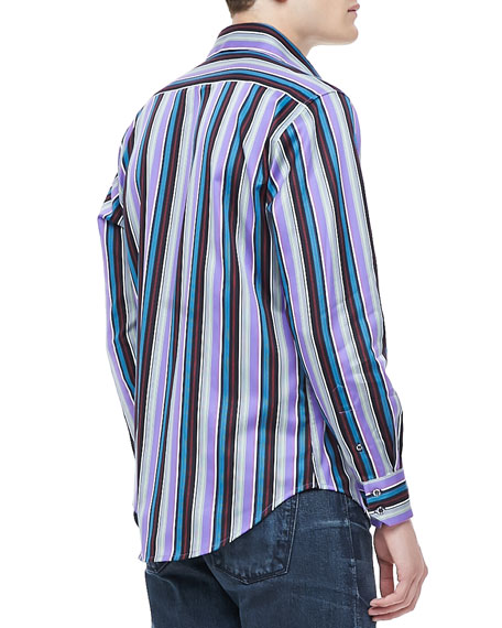 Schoolhouse Stripe Shirt, Purple
