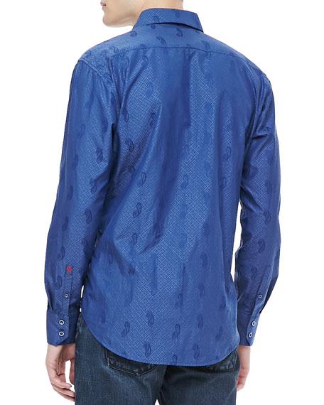 Flytrap Paisley Jacquard Sport Shirt, Navy
