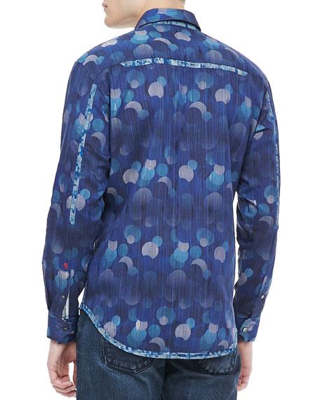 Benitoite Embroidered Sport Shirt Blue