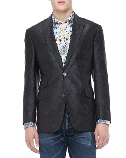 Robert Graham Jacquard Evening Jacket, Black