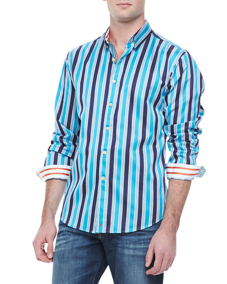 Barsino Striped Sport Shirt, Blue