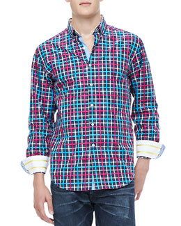 Robert Graham Foreshore Plaid Shirt, Turquoise