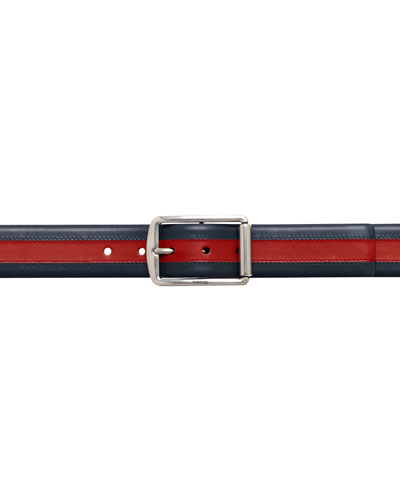 Signature Web Leather Belt, Blue/Red/Blue