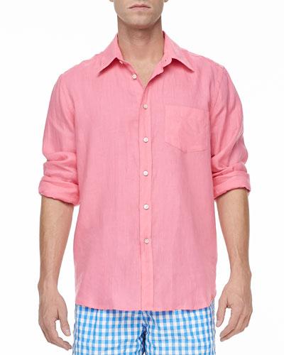 Vilebrequin Linen Long-Sleeve Shirt,  Pink