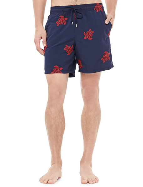 Mistral Embroidered Turtle Swim Trunk, Navy