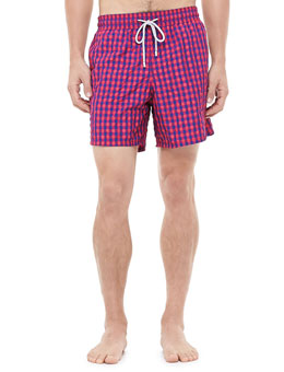 Vilebrequin Morio Gingham Swim Trunks, Red/Blue