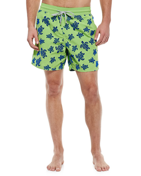 Moorea Turtle Flocked Swim Trunks, Green