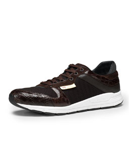 Gucci Ipanema Croc-Trim Sneaker, Brown