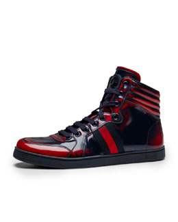 Gucci Coda Burnished High-Top Sneaker, Red/Blue