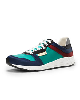 Gucci Ipanema Satin Lace-Up Sneaker, Blue