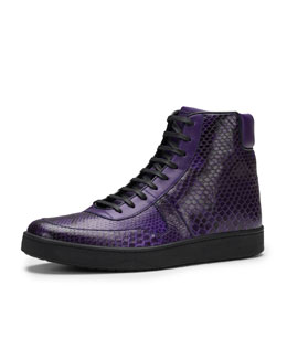 Gucci Todd Python High-Top Sneaker, Purple