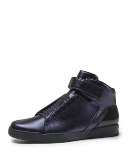 Gucci Mel Metallic High-Top Sneaker, Blue